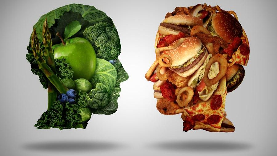 Two human faces one made of fresh green vegetables and fruit and the other head shaped with greasy fast food as hamburgers