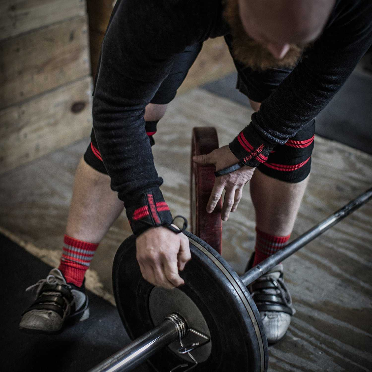 Powerlifter wearing Harbinger wrist wraps