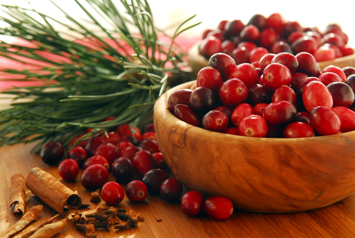 Cranberries in bowls