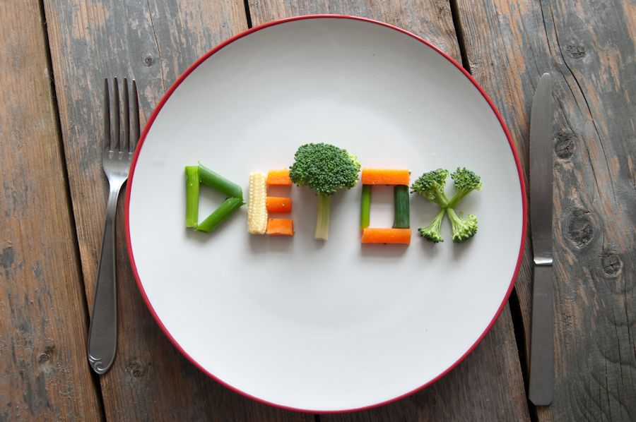 detox written with veggies