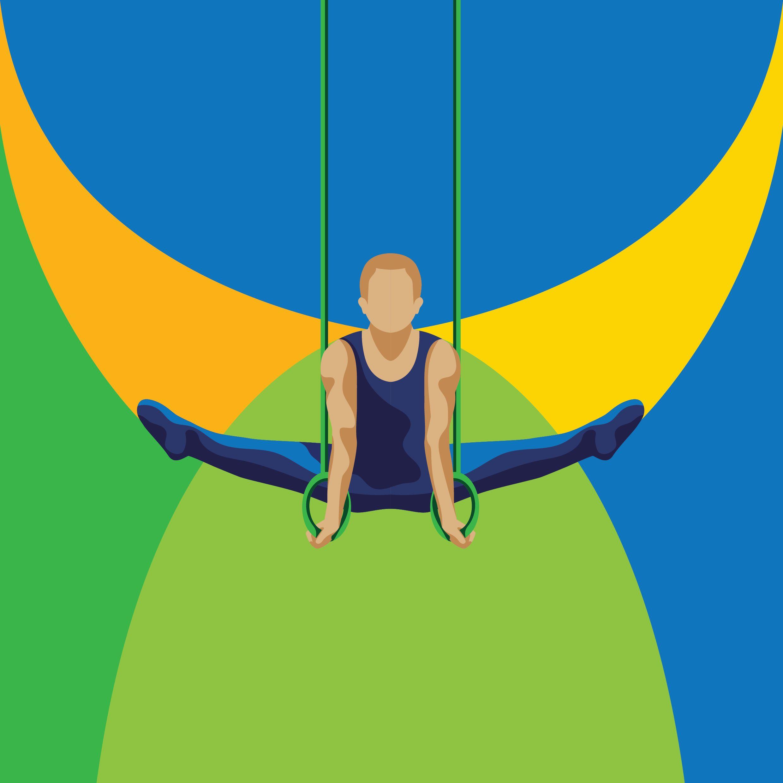 Man gymnast performing on rings Vector Image
